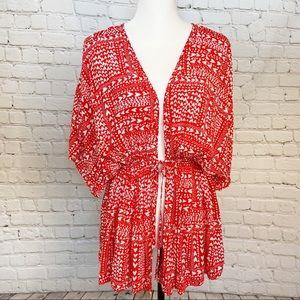 Victoria's Secret red heart kimono coverup robe